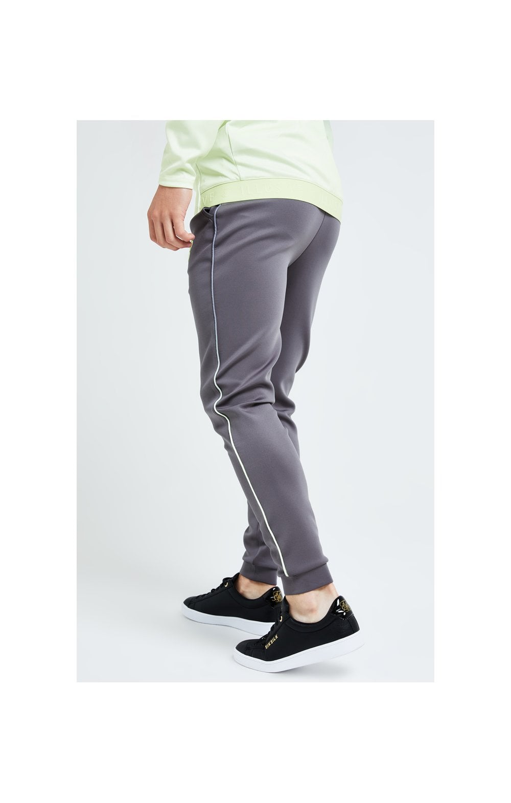Illusive London Blaze Fade Piping Jogger - Dark Grey & Lime (2)