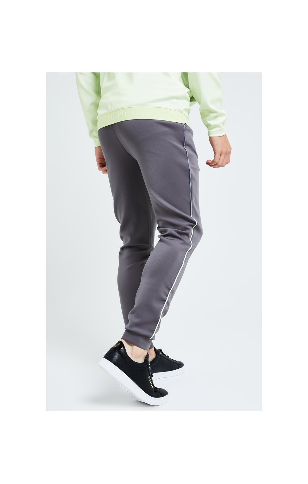 Illusive London Blaze Fade Piping Jogger - Dark Grey & Lime (3)