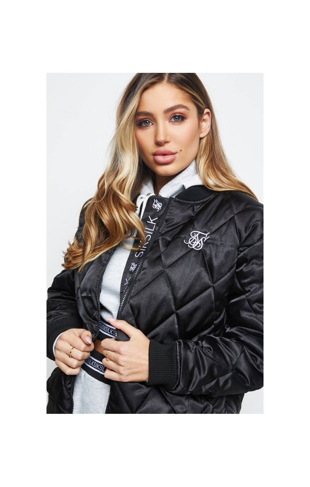 SikSilk Satin Bomber Jacket - Black