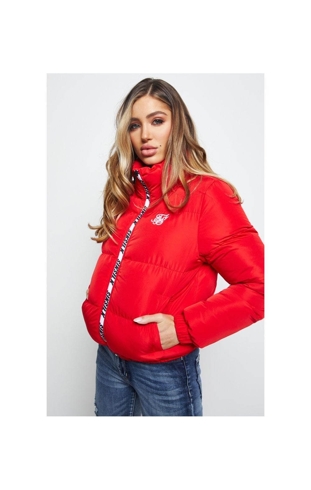 SikSilk Padded Crop Jacket - Red
