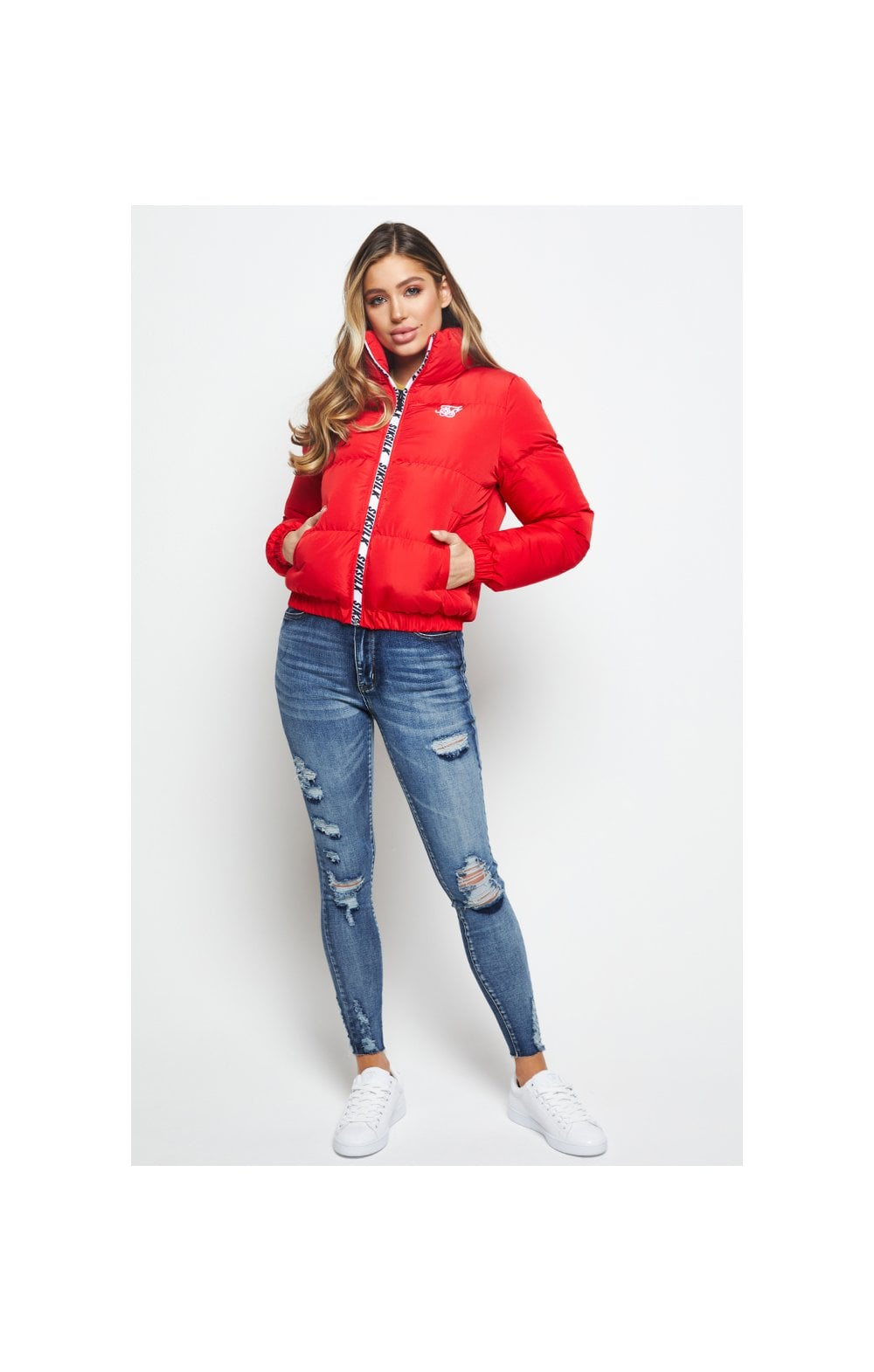 SikSilk Padded Crop Jacket - Red (4)