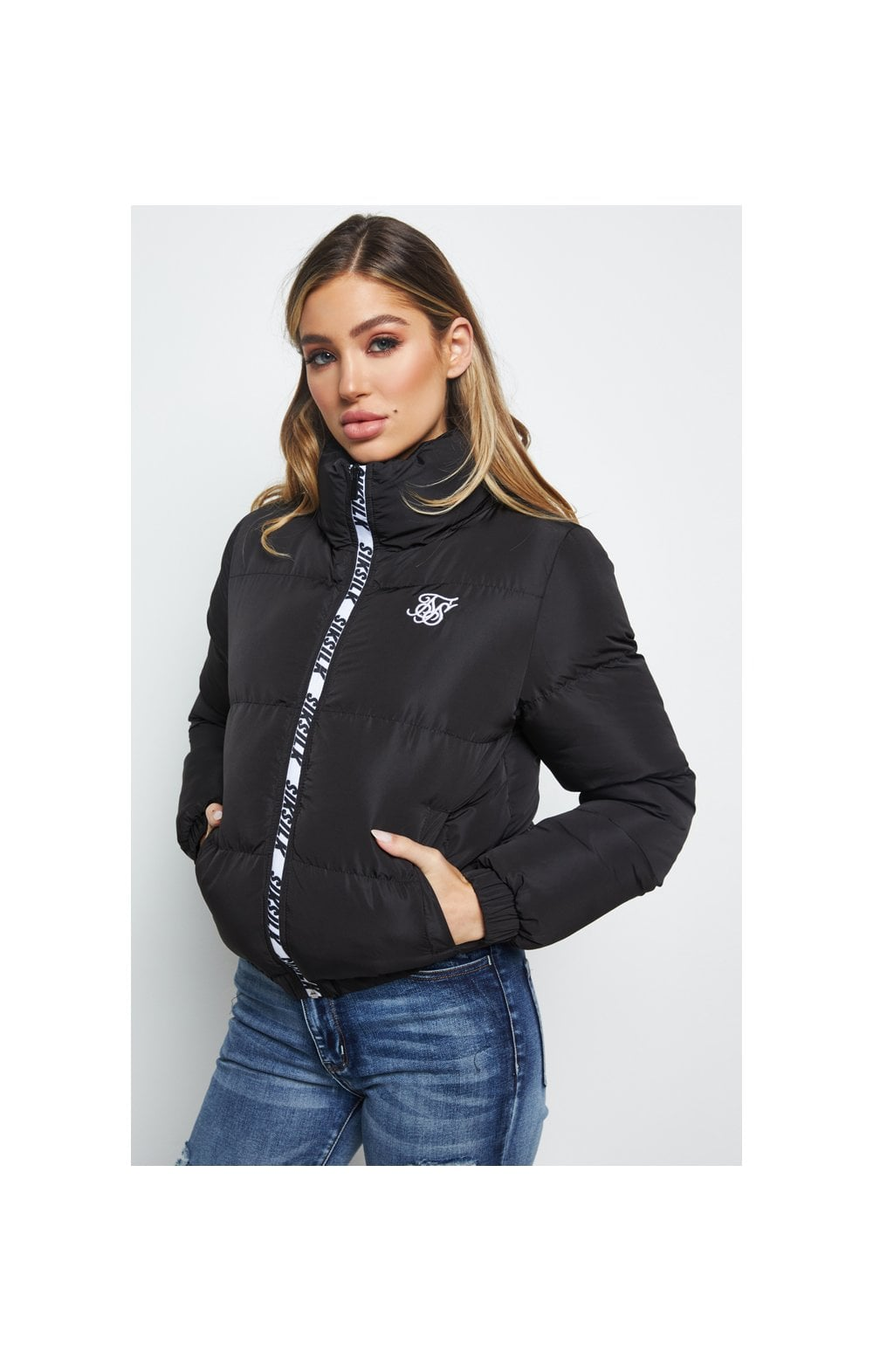 SikSilk Padded Crop Jacket - Black