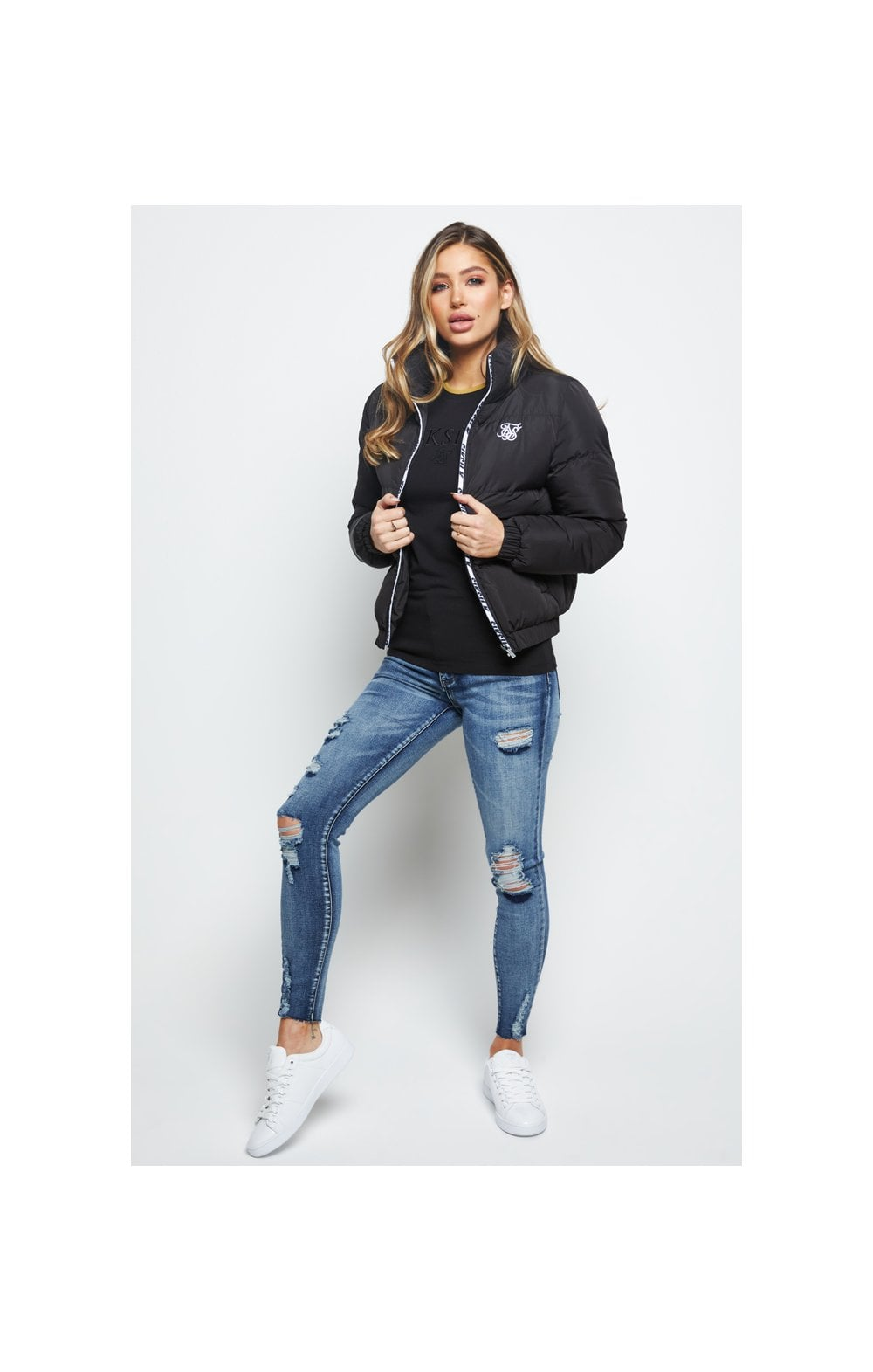 SikSilk Padded Crop Jacket - Black (3)