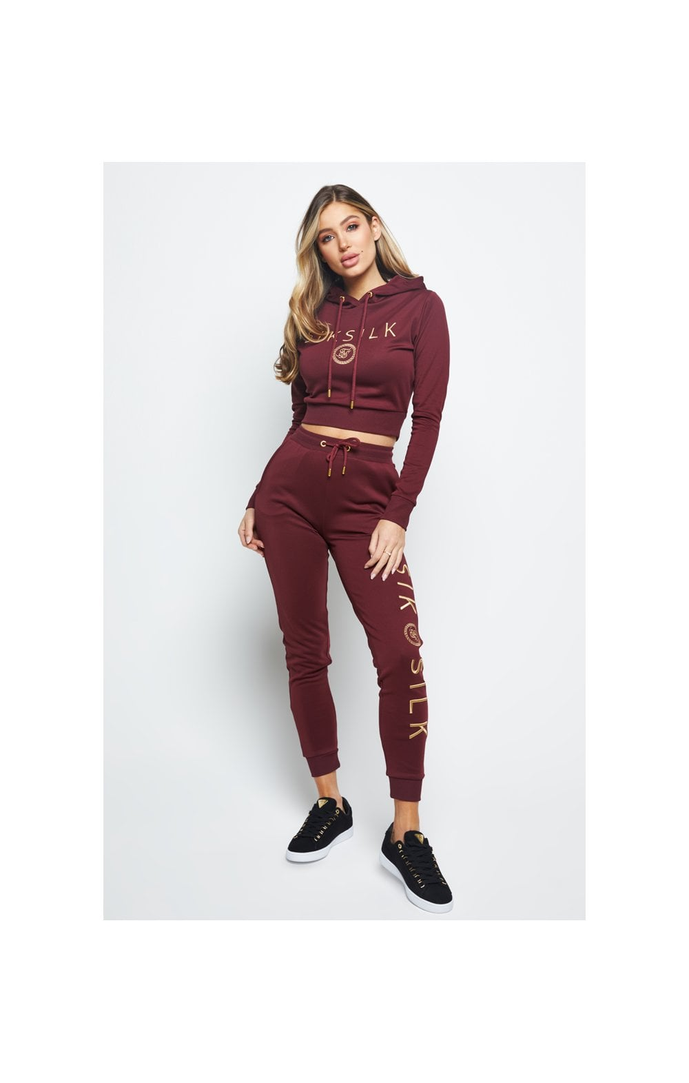 SikSilk Eyelet Mesh Track Top - Burgundy (1)