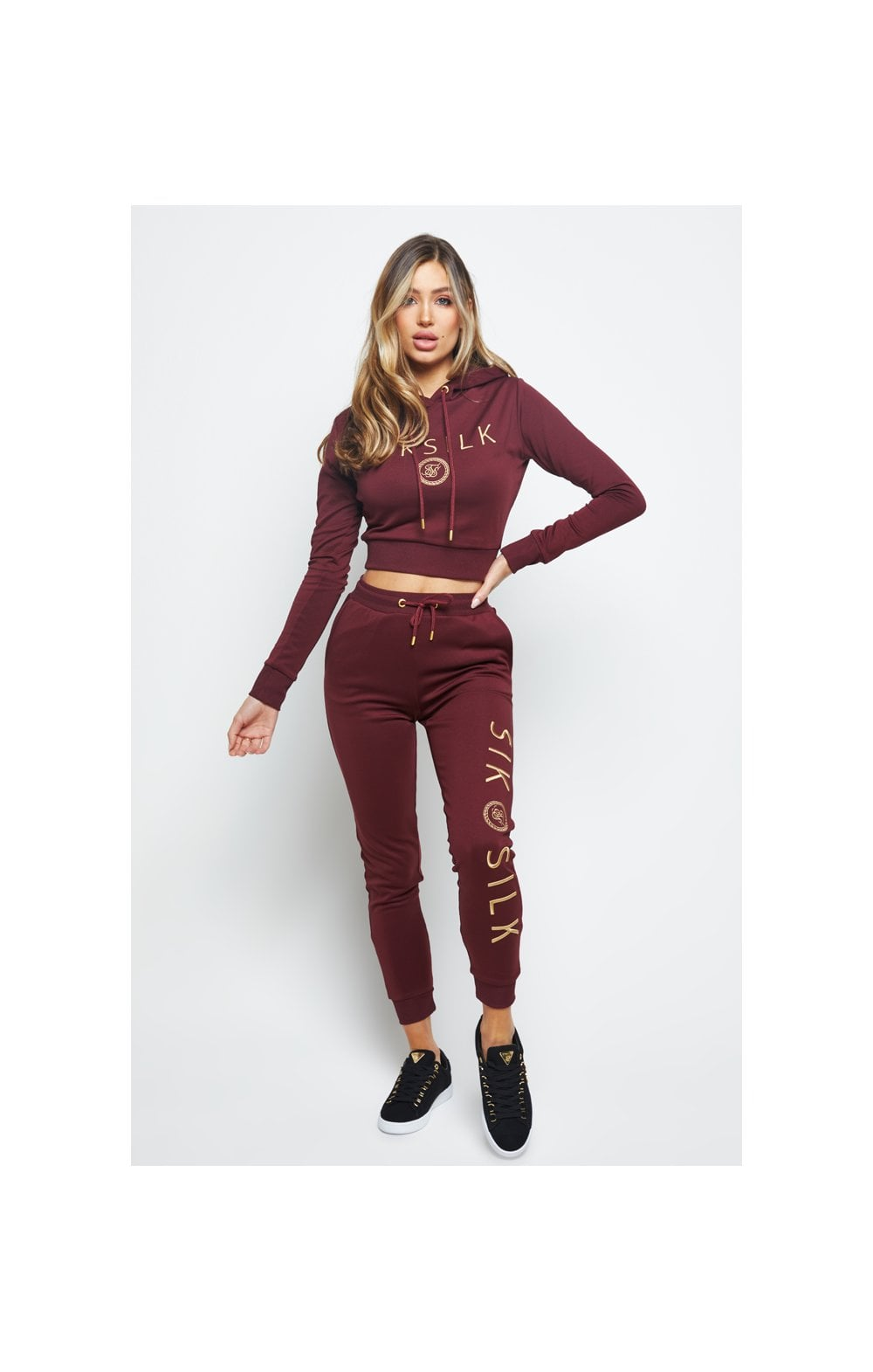 SikSilk Eyelet Mesh Track Top - Burgundy (2)