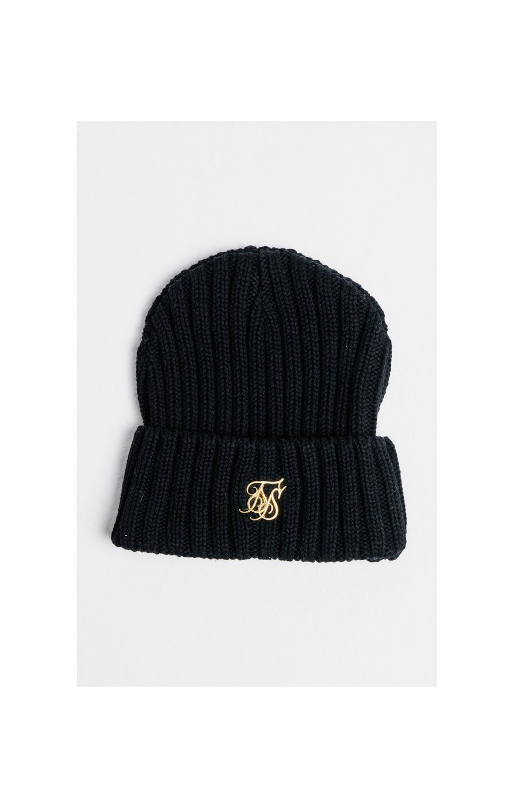 SikSilk Rib Cuff Knit Beanie - Black & Gold
