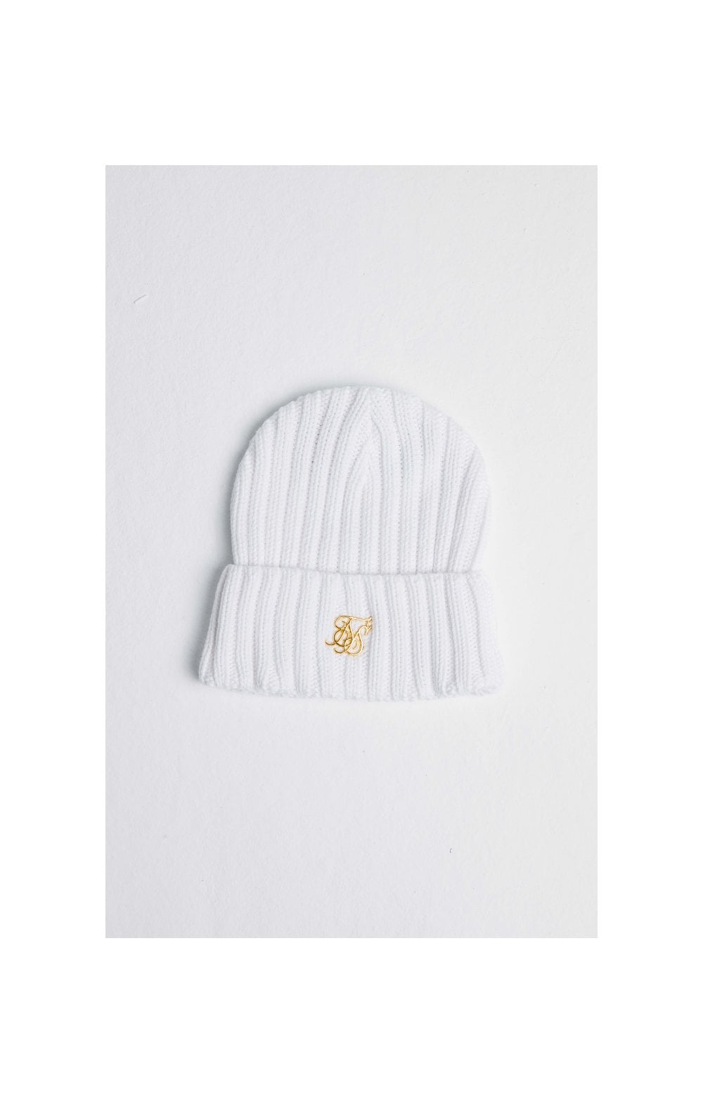 SikSilk Rib Cuff Knit Beanie - White & Gold