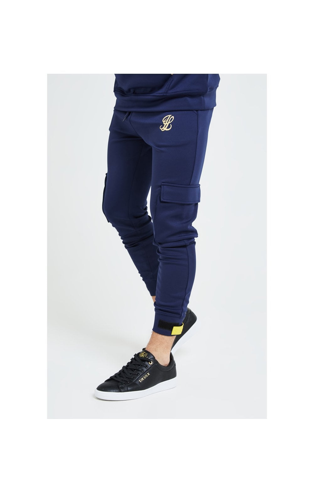Illusive London Element Cargo Joggers – Navy Gold & Yellow