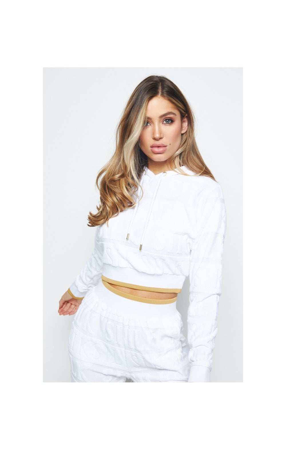 SikSilk Inverse Cropped Hoodie - White