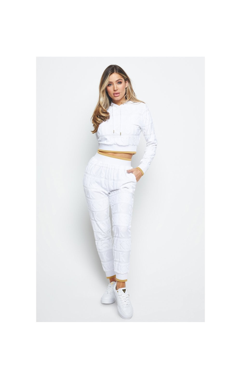 SikSilk Inverse Cropped Hoodie - White (3)