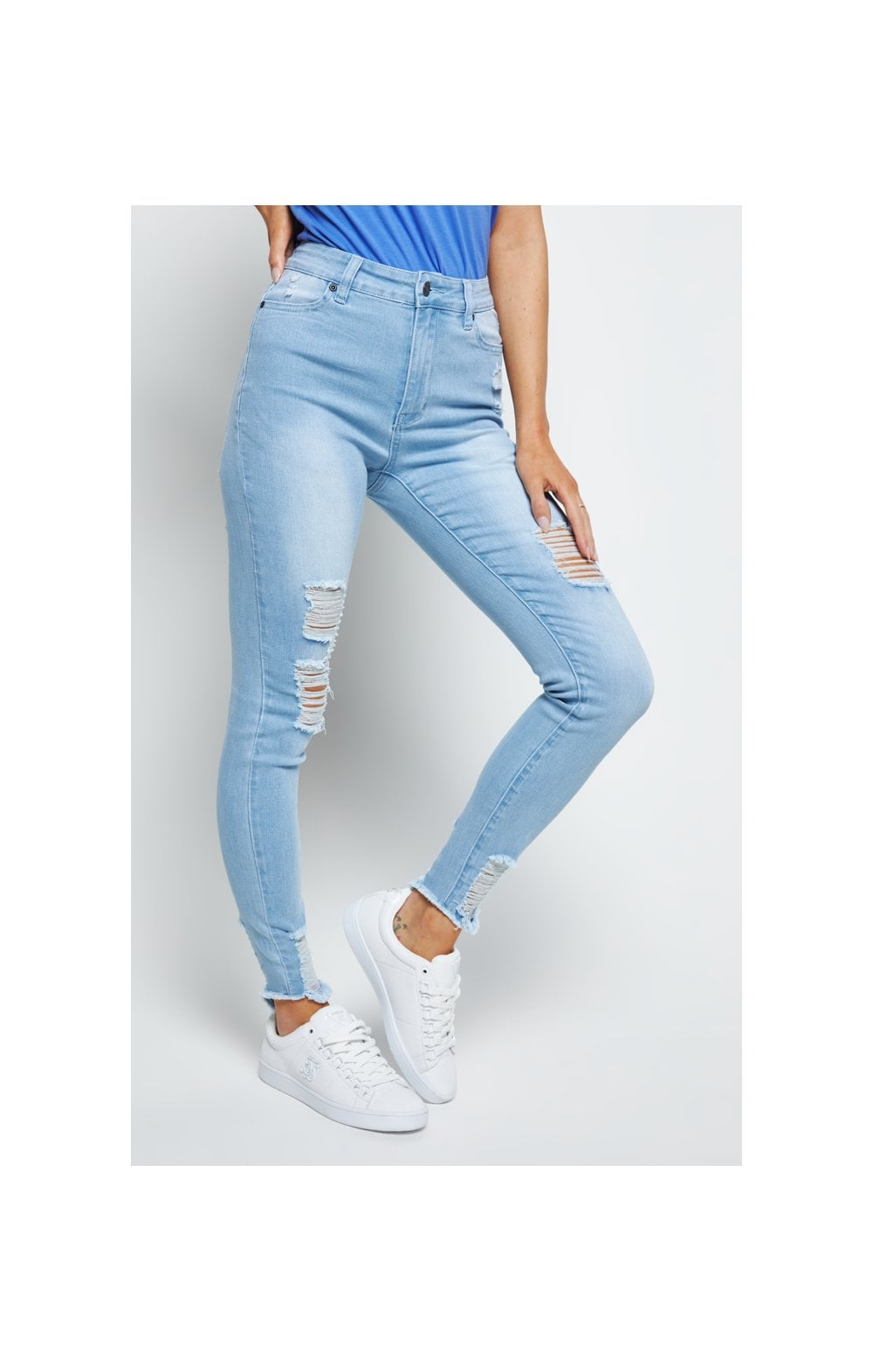 SikSilk Distressed Skinny Jeans - Ice Blue