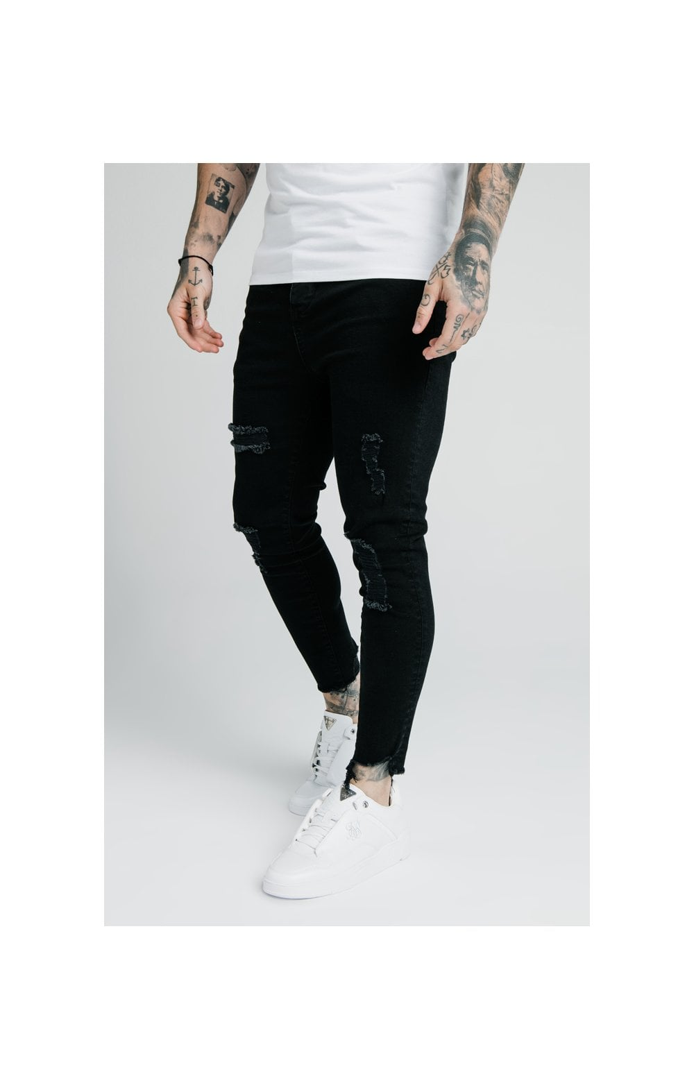 SikSilk Cropped Raw Hem Denims - Black