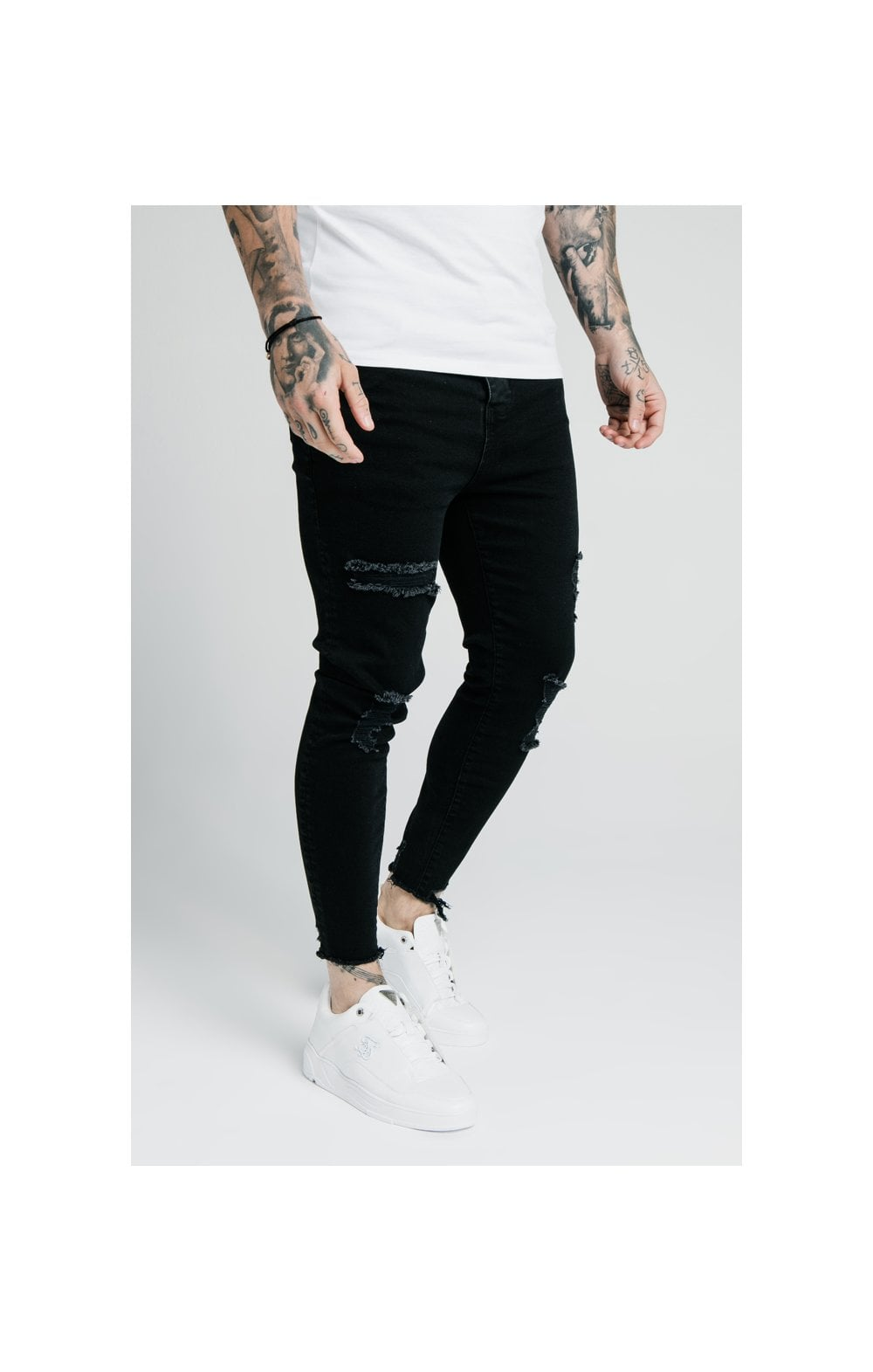 SikSilk Cropped Raw Hem Denims - Black (1)