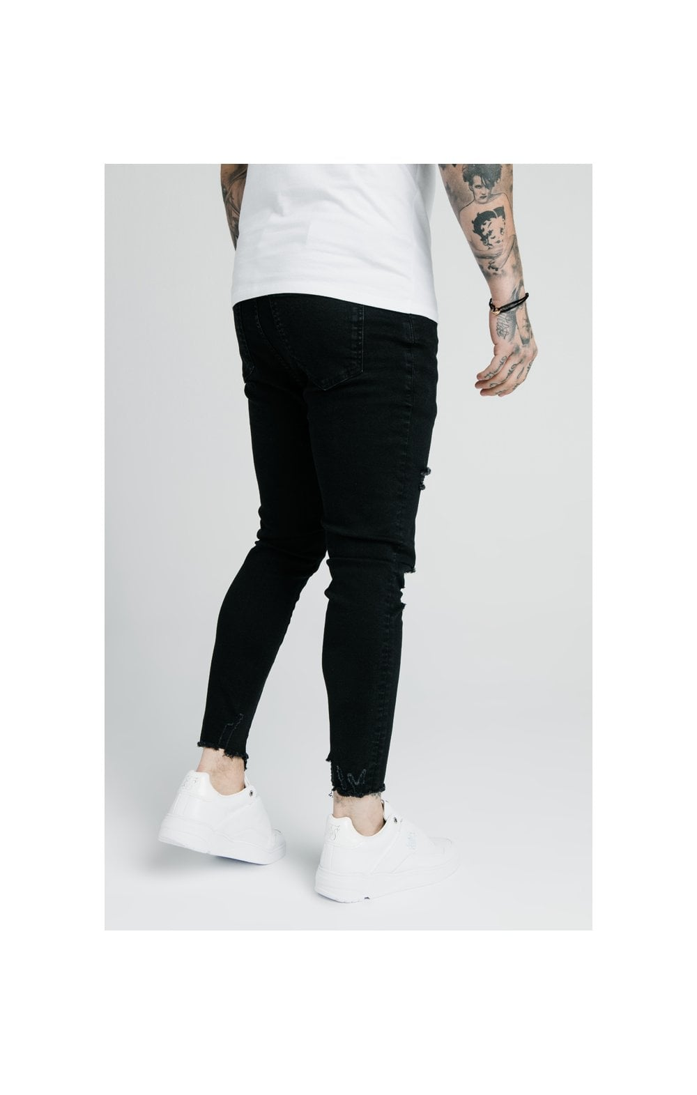 SikSilk Cropped Raw Hem Denims - Black (2)