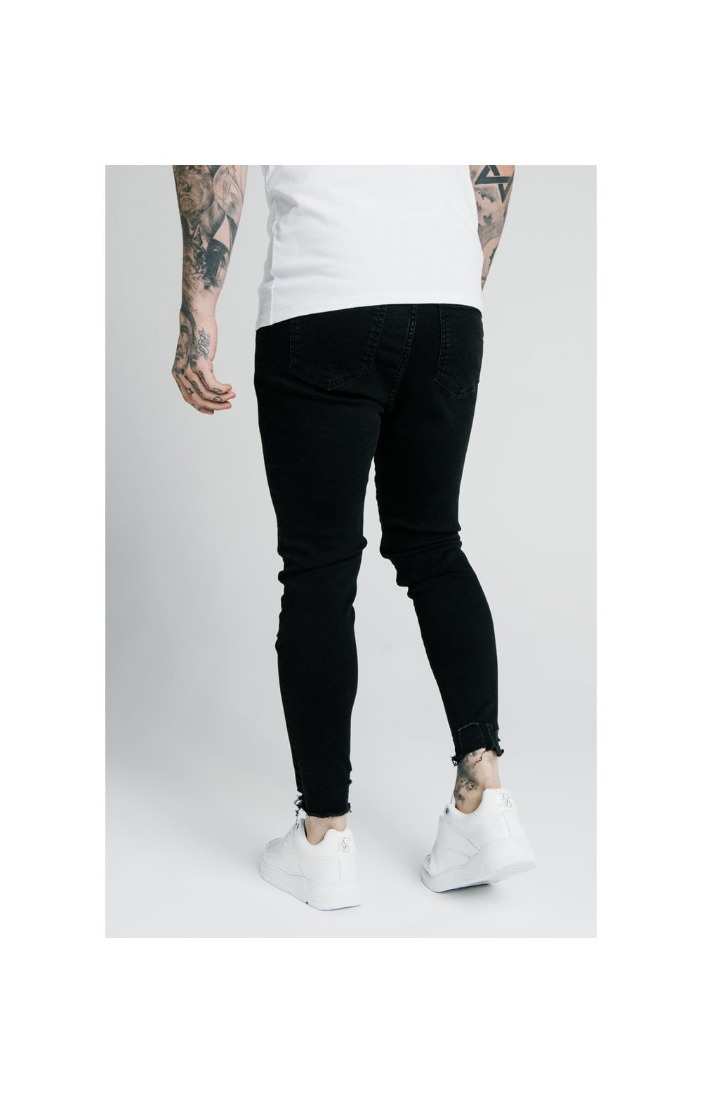 SikSilk Cropped Raw Hem Denims - Black (3)