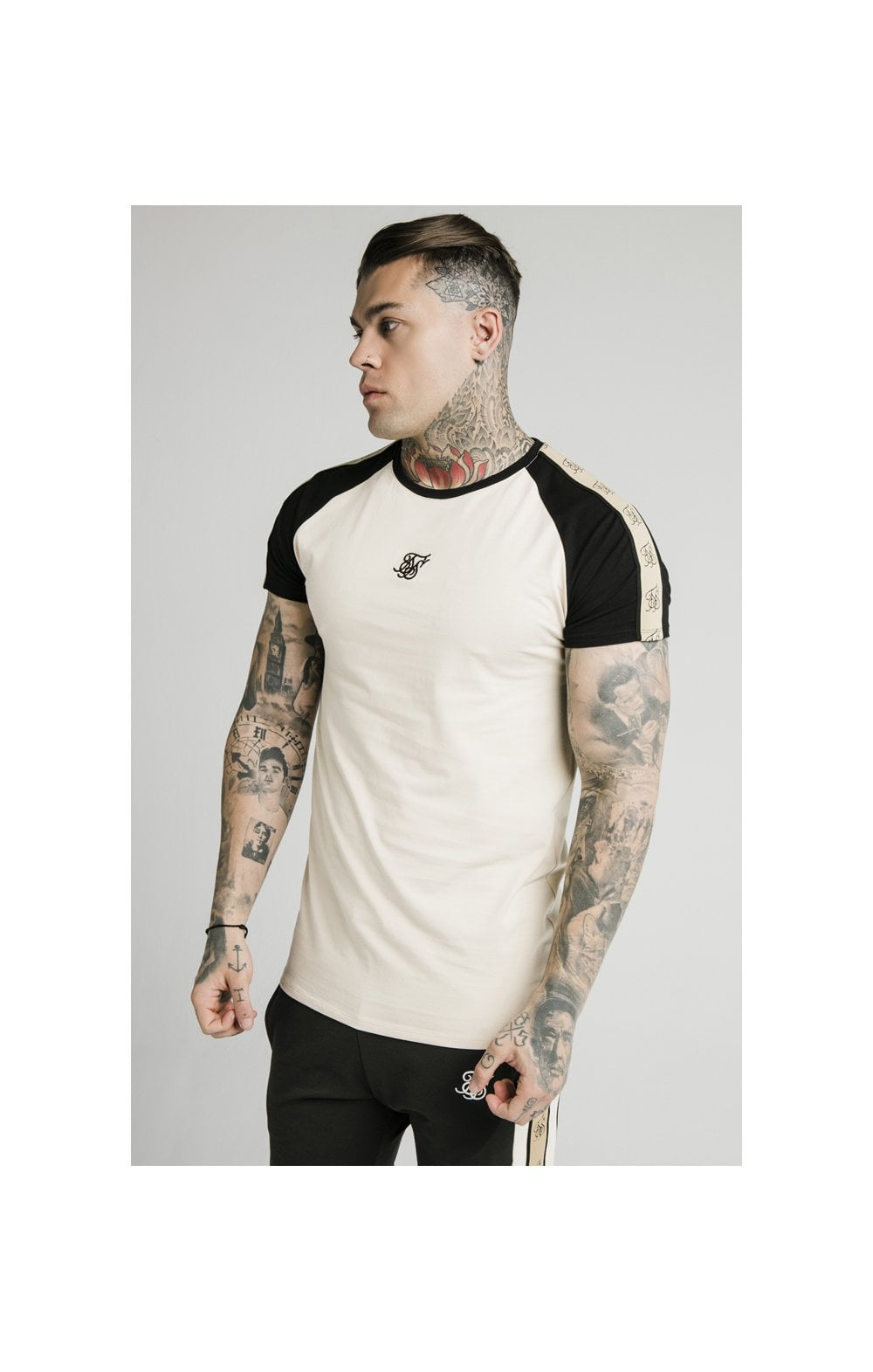 SikSilk Raglan Premium Tape Gym Tee - Ecru & Black
