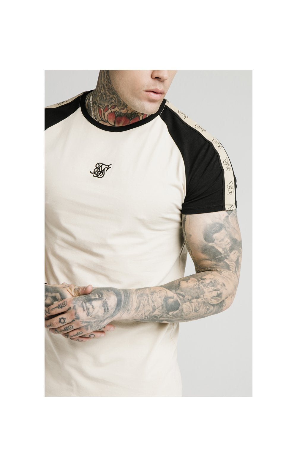 SikSilk Raglan Premium Tape Gym Tee - Ecru & Black (1)