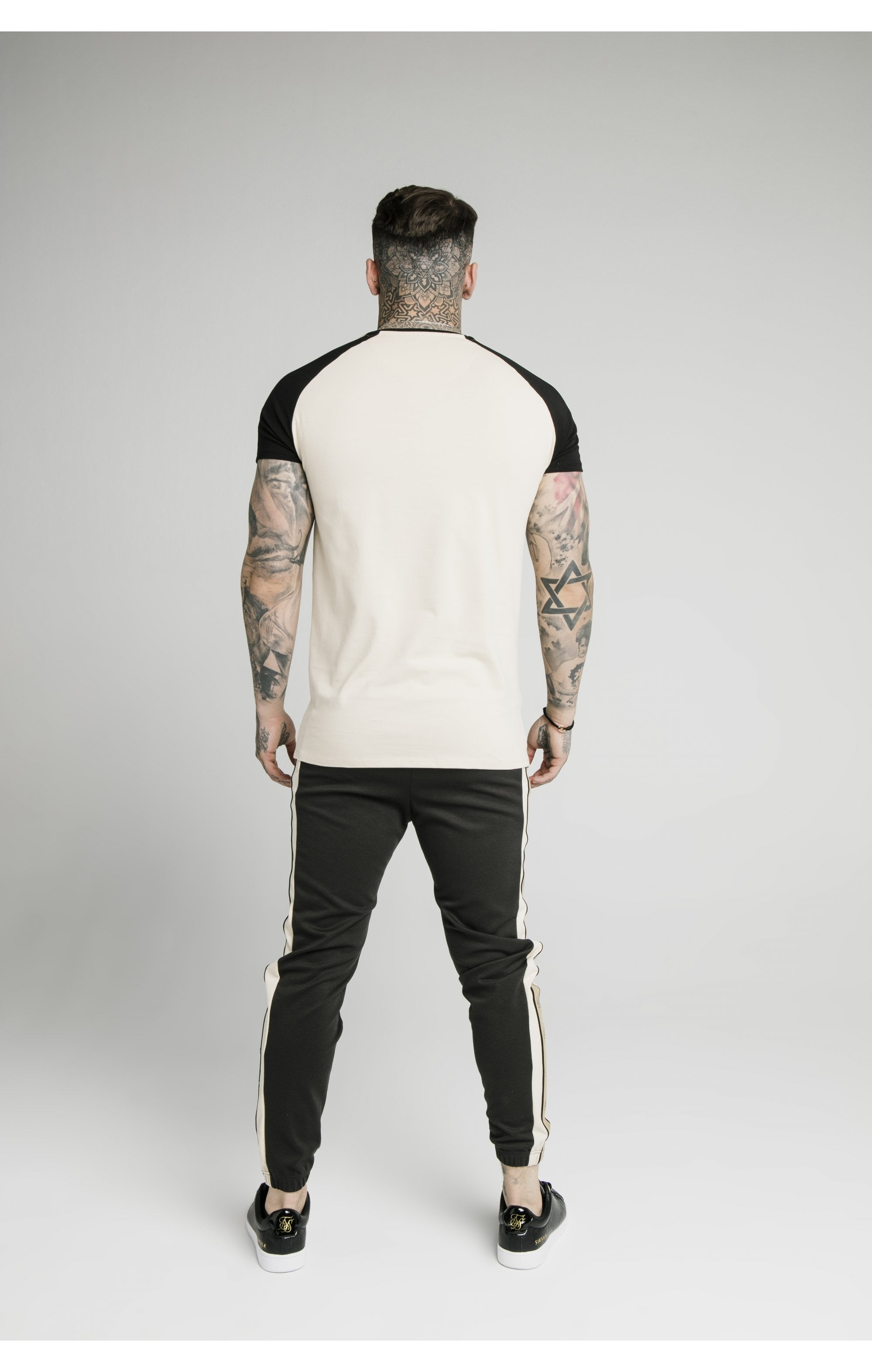 SikSilk Raglan Premium Tape Gym Tee - Ecru & Black (4)