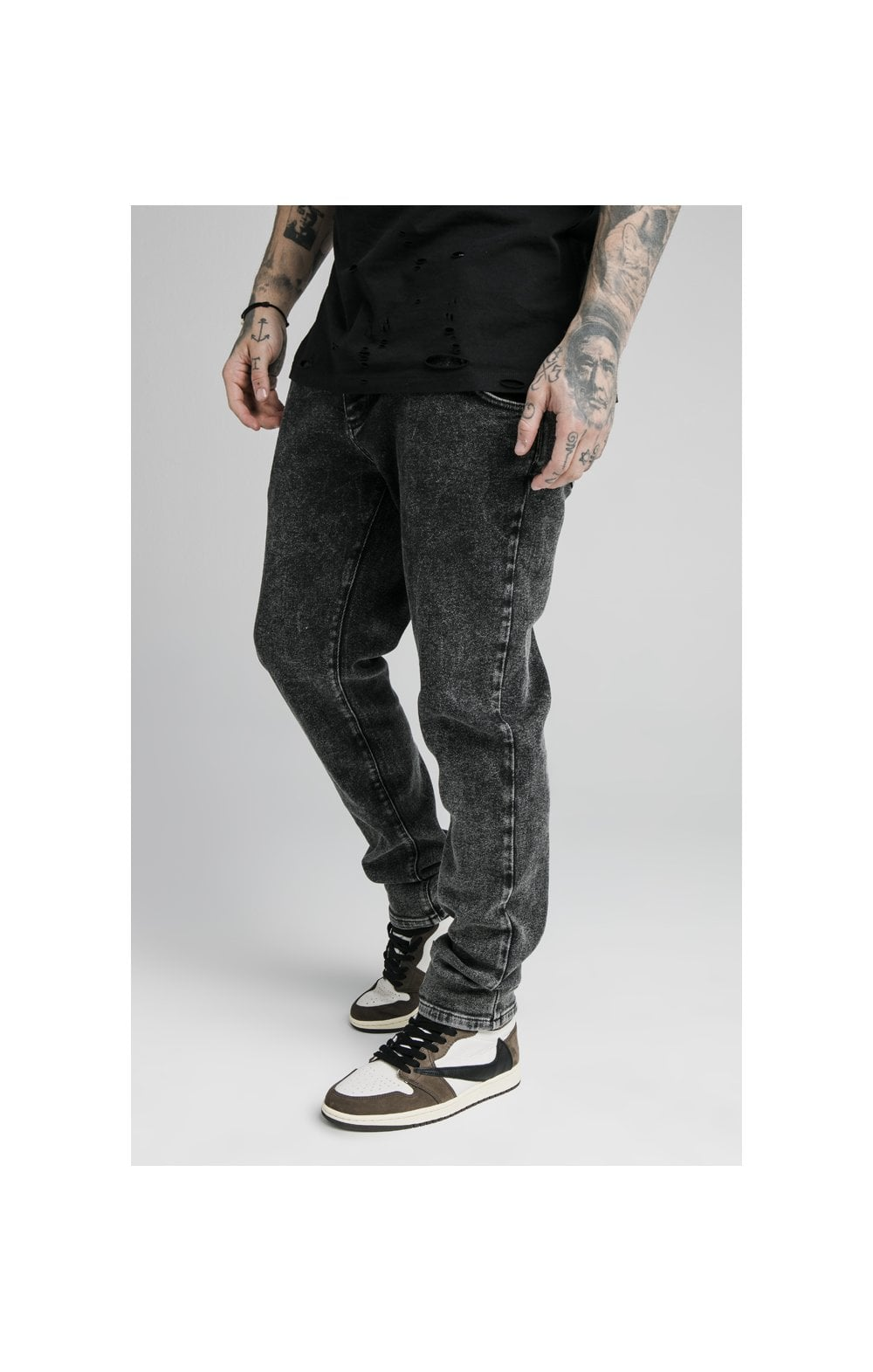 SikSilk Raw Loose Fit Denims - Acid Black