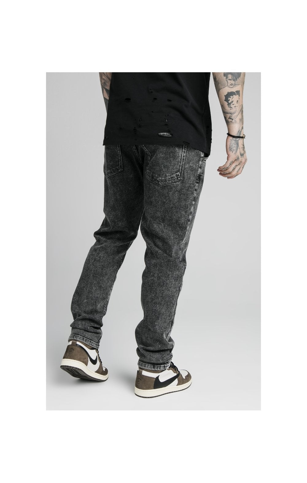 SikSilk Raw Loose Fit Denims - Acid Black (1)