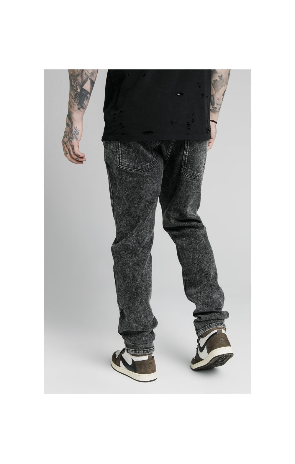 SikSilk Raw Loose Fit Denims - Acid Black (2)