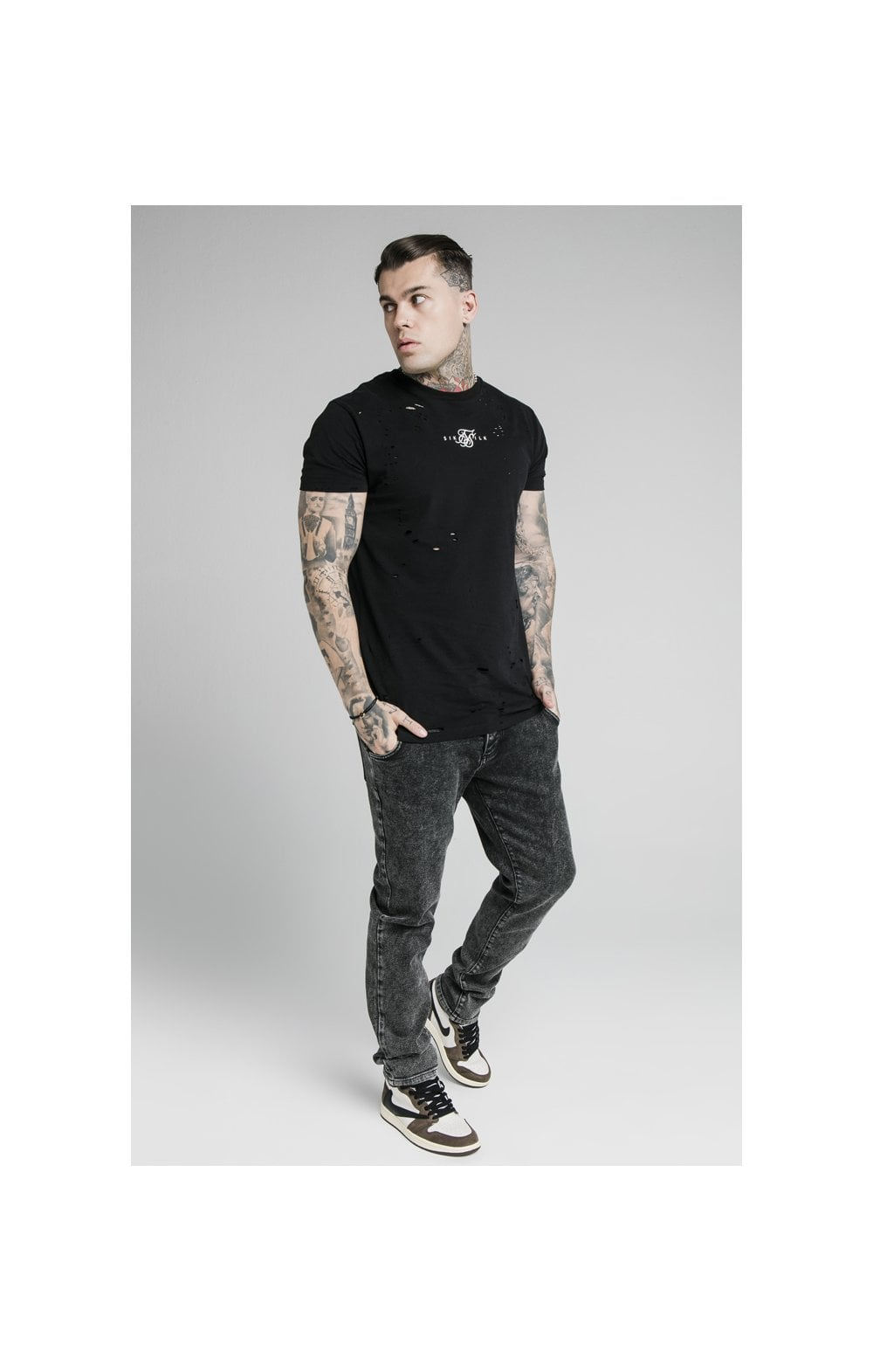 SikSilk Raw Loose Fit Denims - Acid Black (3)