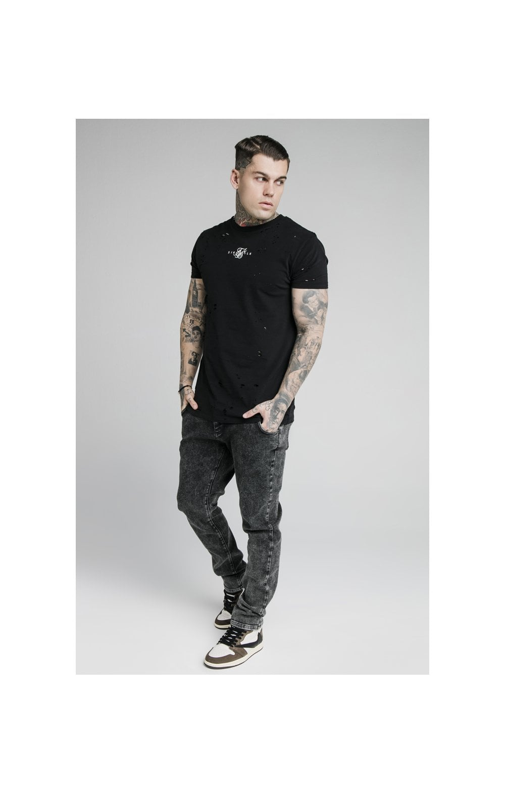 SikSilk Raw Loose Fit Denims - Acid Black (4)