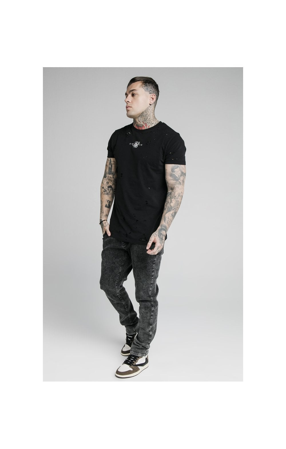 SikSilk Raw Loose Fit Denims - Acid Black (5)