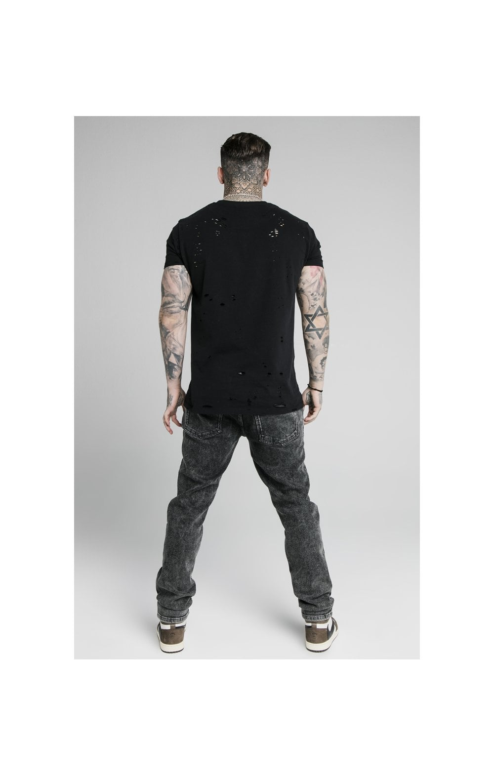 SikSilk Raw Loose Fit Denims - Acid Black (6)
