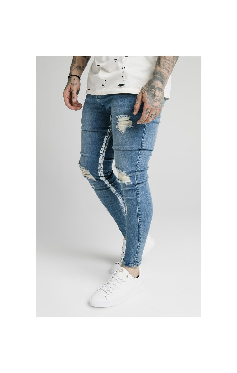 SikSilk Skinny Distressed Paint Stripe Denims - Midstone & White