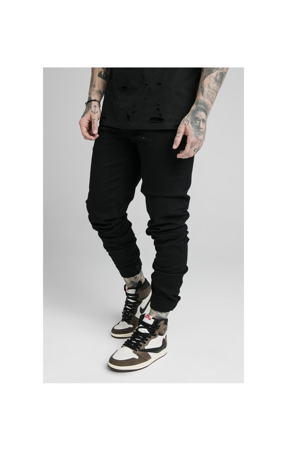 SikSilk Elasticated Strap Cuff Denim Jeans – Black