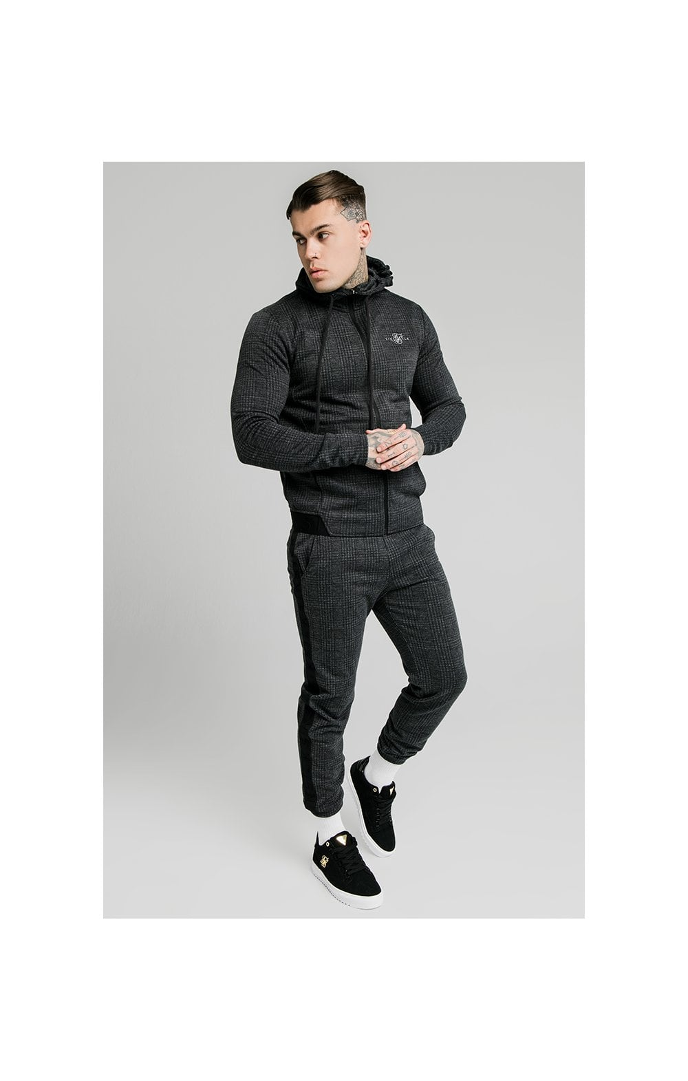 SikSilk Tonal Check Agility Zip Through Hoodie - Grey (2)