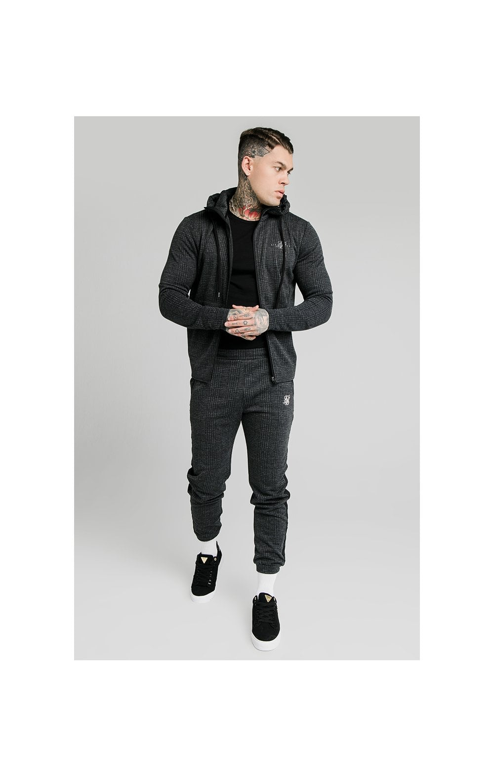 SikSilk Tonal Check Agility Zip Through Hoodie - Grey (3)