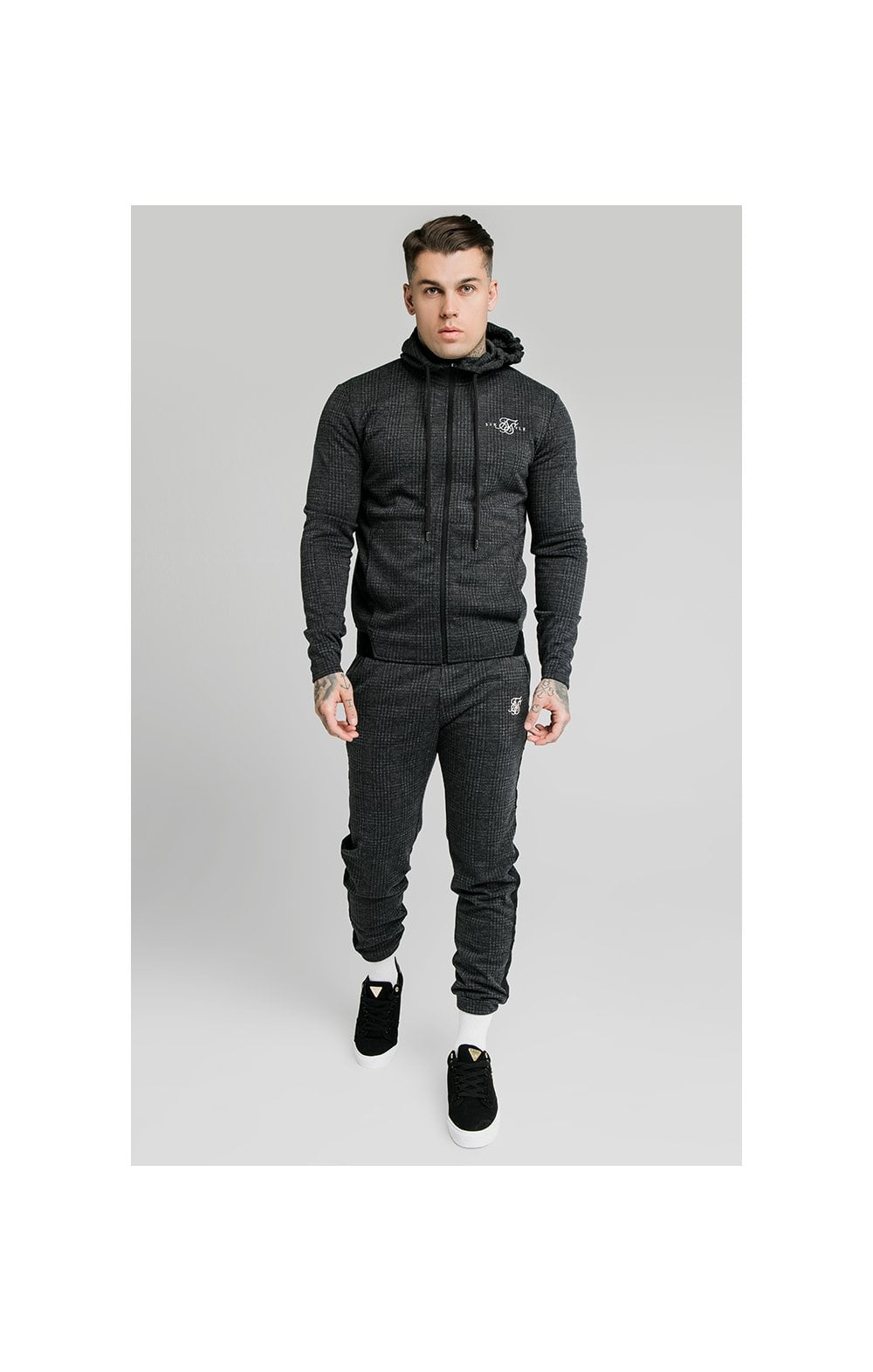 SikSilk Tonal Check Agility Zip Through Hoodie - Grey (4)