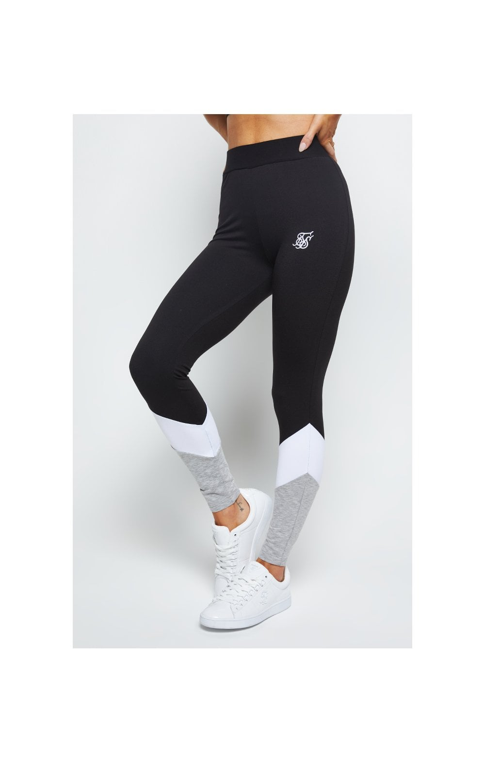 SikSilk Sportive Leggings - Grey Black & White