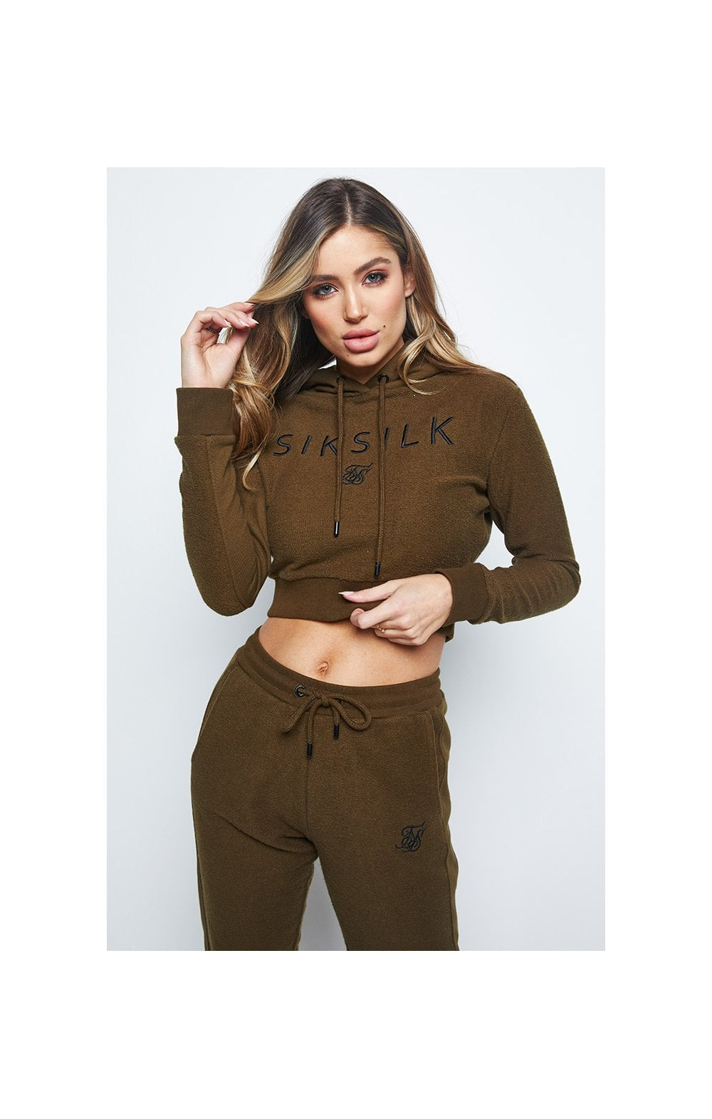 SikSilk Reverse Fleece Cropped Hoodie - Khaki