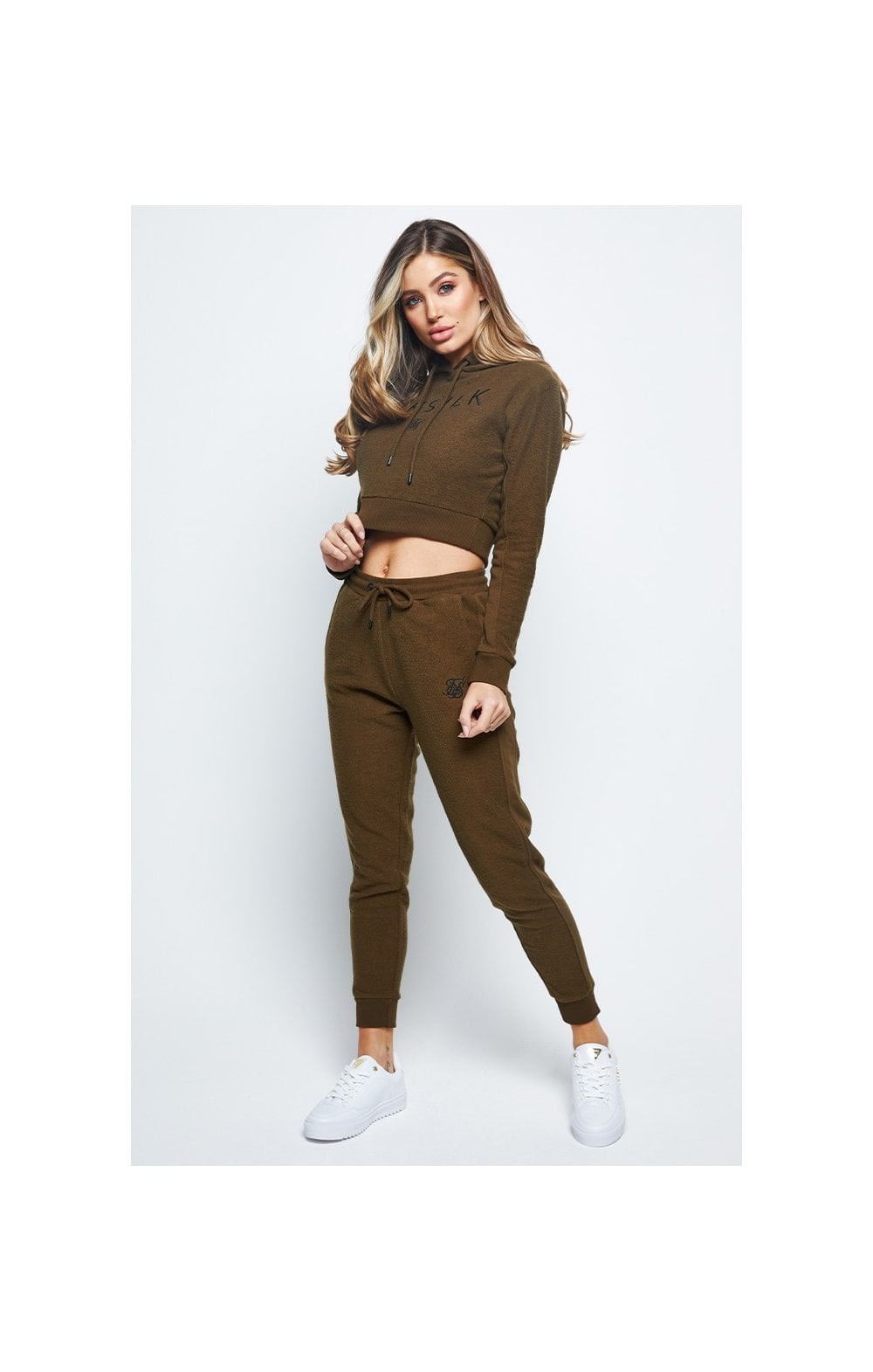 SikSilk Reverse Fleece Cropped Hoodie - Khaki (2)