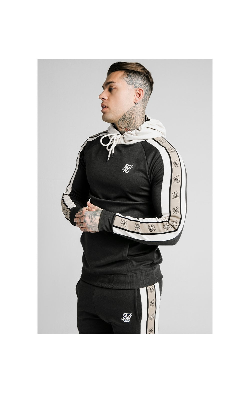 SikSilk Premium Tape Overhead Hoodie - Jet Black & Off White