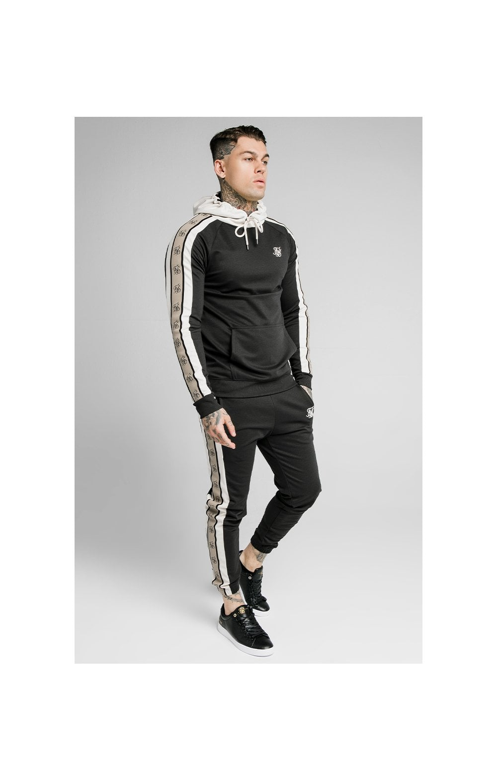 SikSilk Premium Tape Overhead Hoodie - Jet Black & Off White (1)