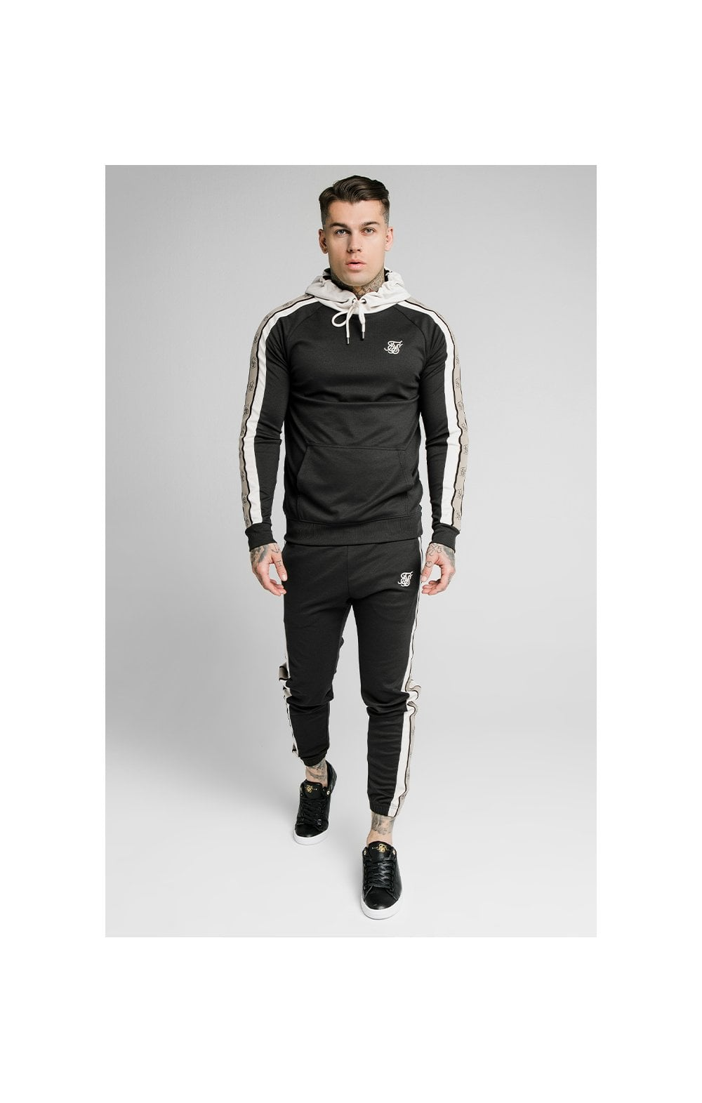 SikSilk Premium Tape Overhead Hoodie - Jet Black & Off White (2)