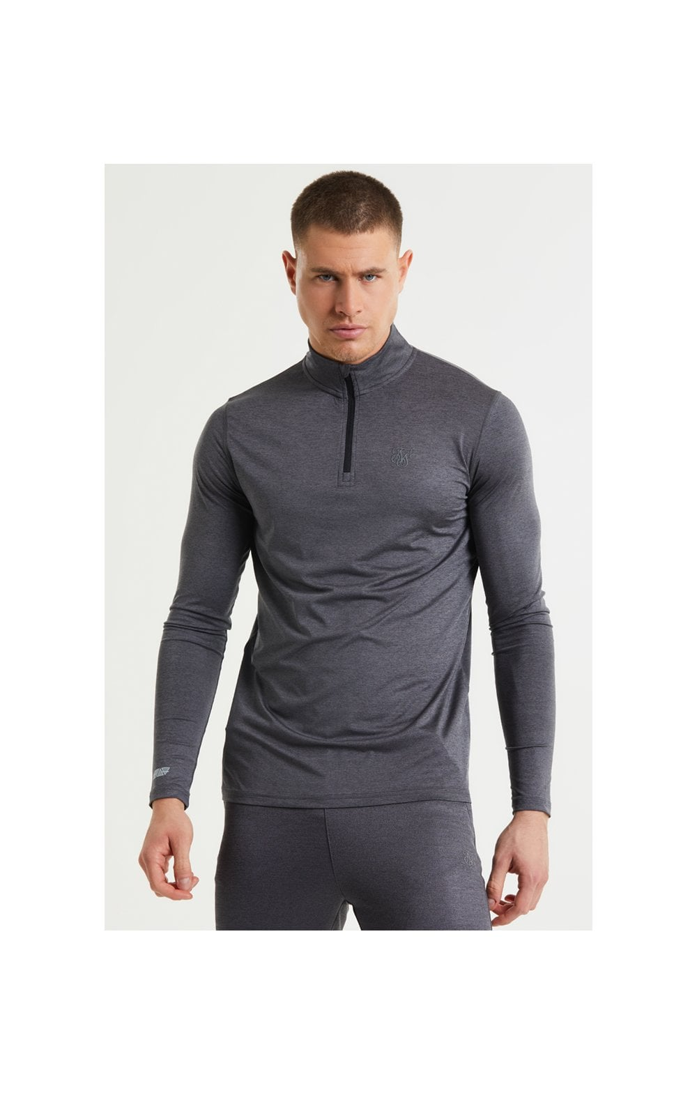 SikSilk Pressure Zip Funnel Neck - Charcoal Marl (1)