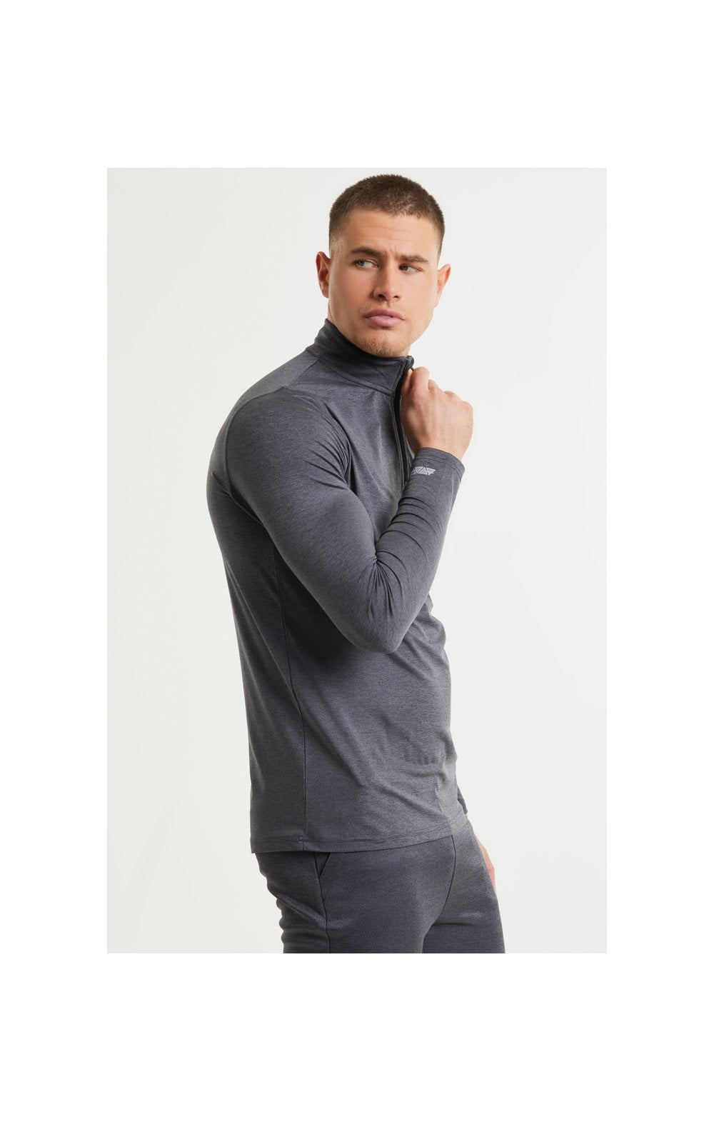 SikSilk Pressure Zip Funnel Neck - Charcoal Marl (3)