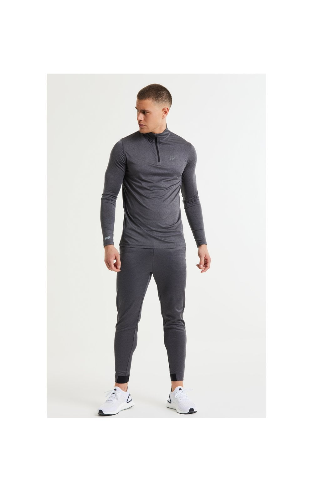 SikSilk Pressure Zip Funnel Neck - Charcoal Marl (4)