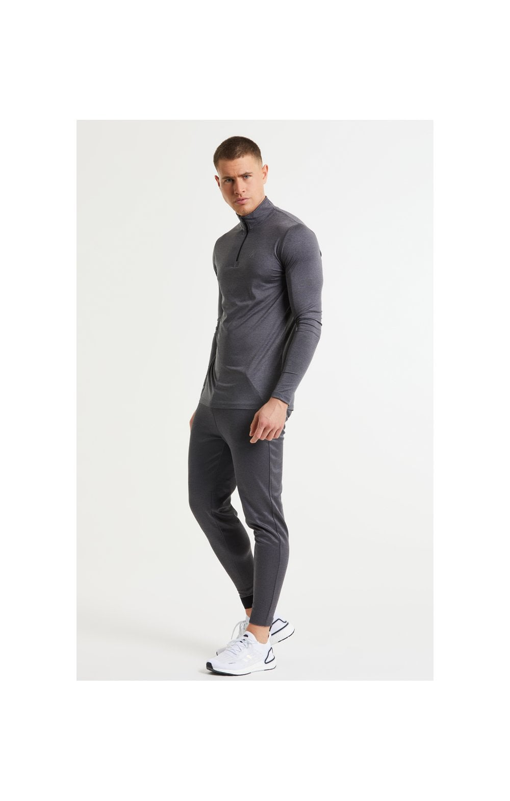 SikSilk Pressure Zip Funnel Neck - Charcoal Marl (6)
