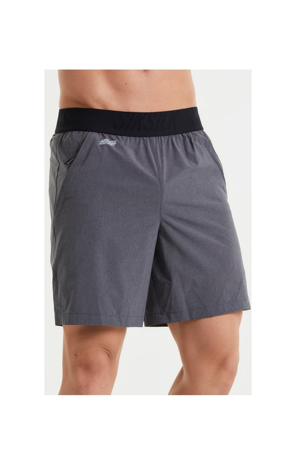 SikSilk Pressure Woven Long Shorts - Charcoal Marl (1)