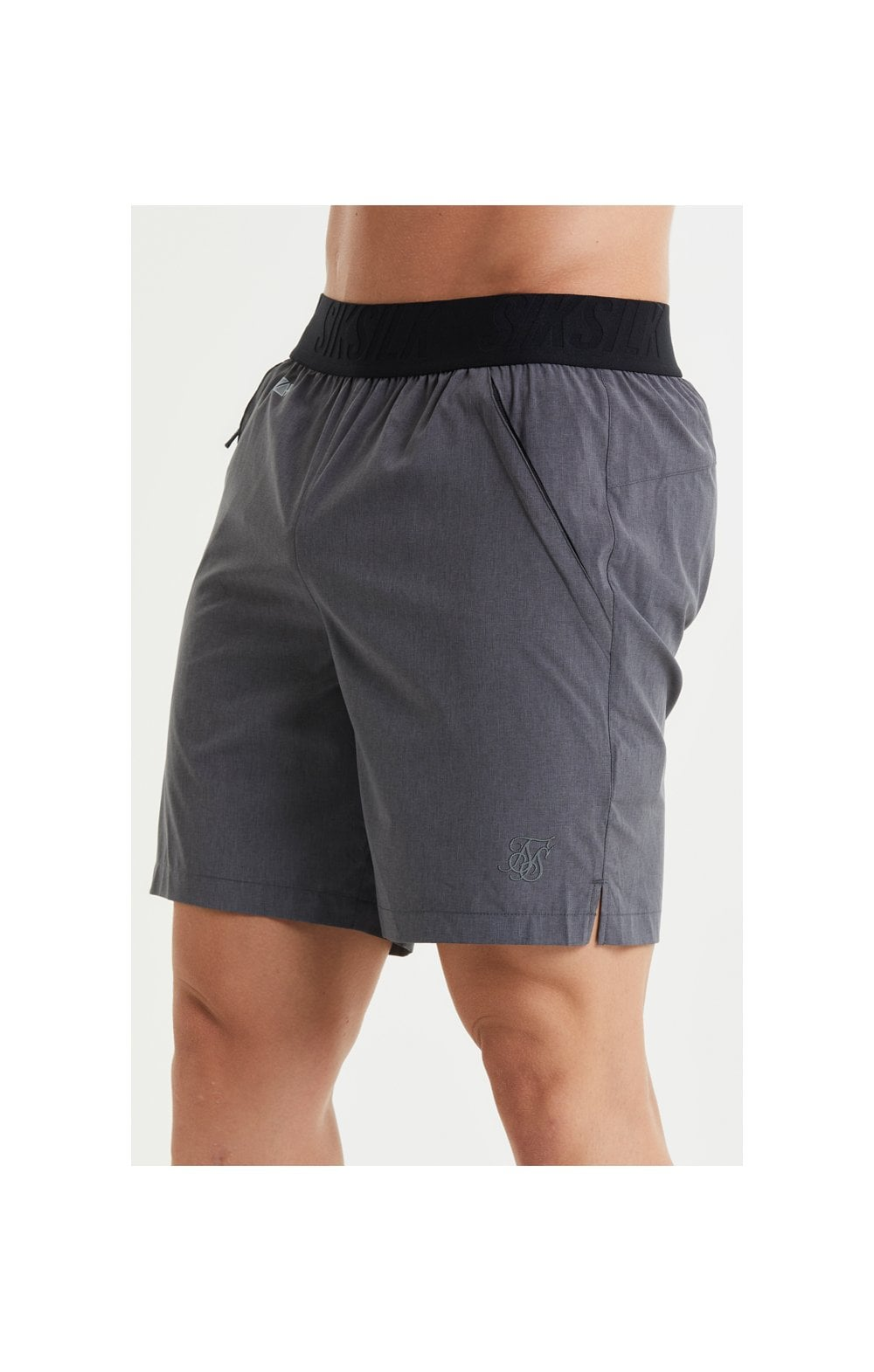 SikSilk Pressure Woven Long Shorts - Charcoal Marl (2)