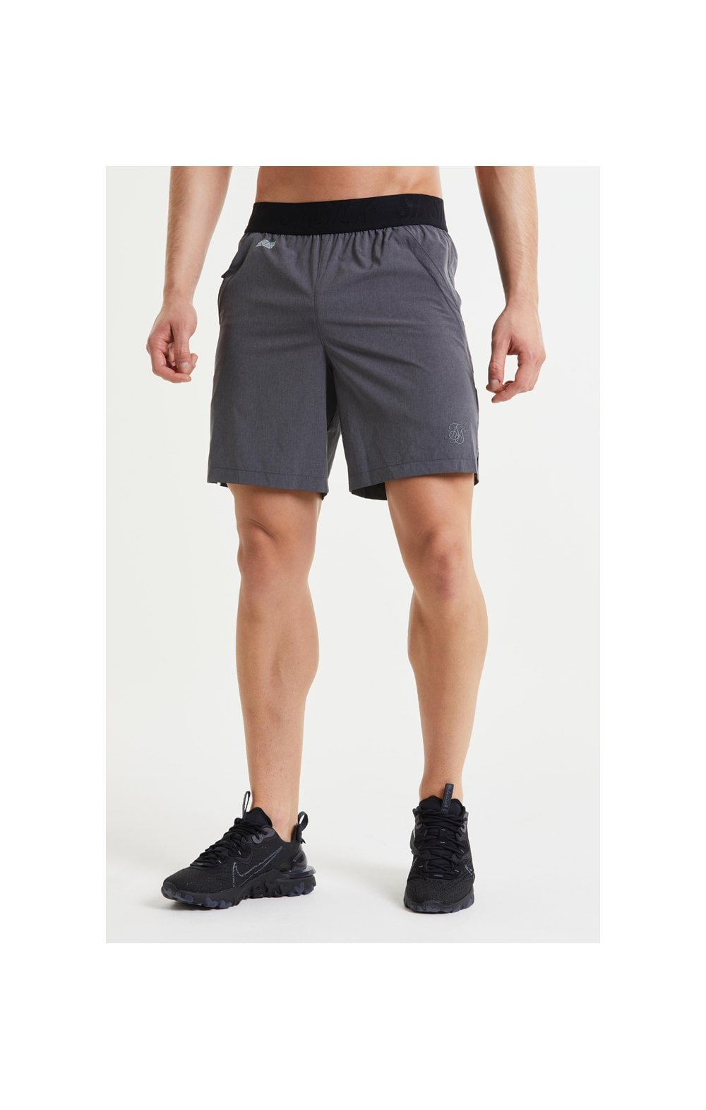 SikSilk Pressure Woven Long Shorts - Charcoal Marl (3)
