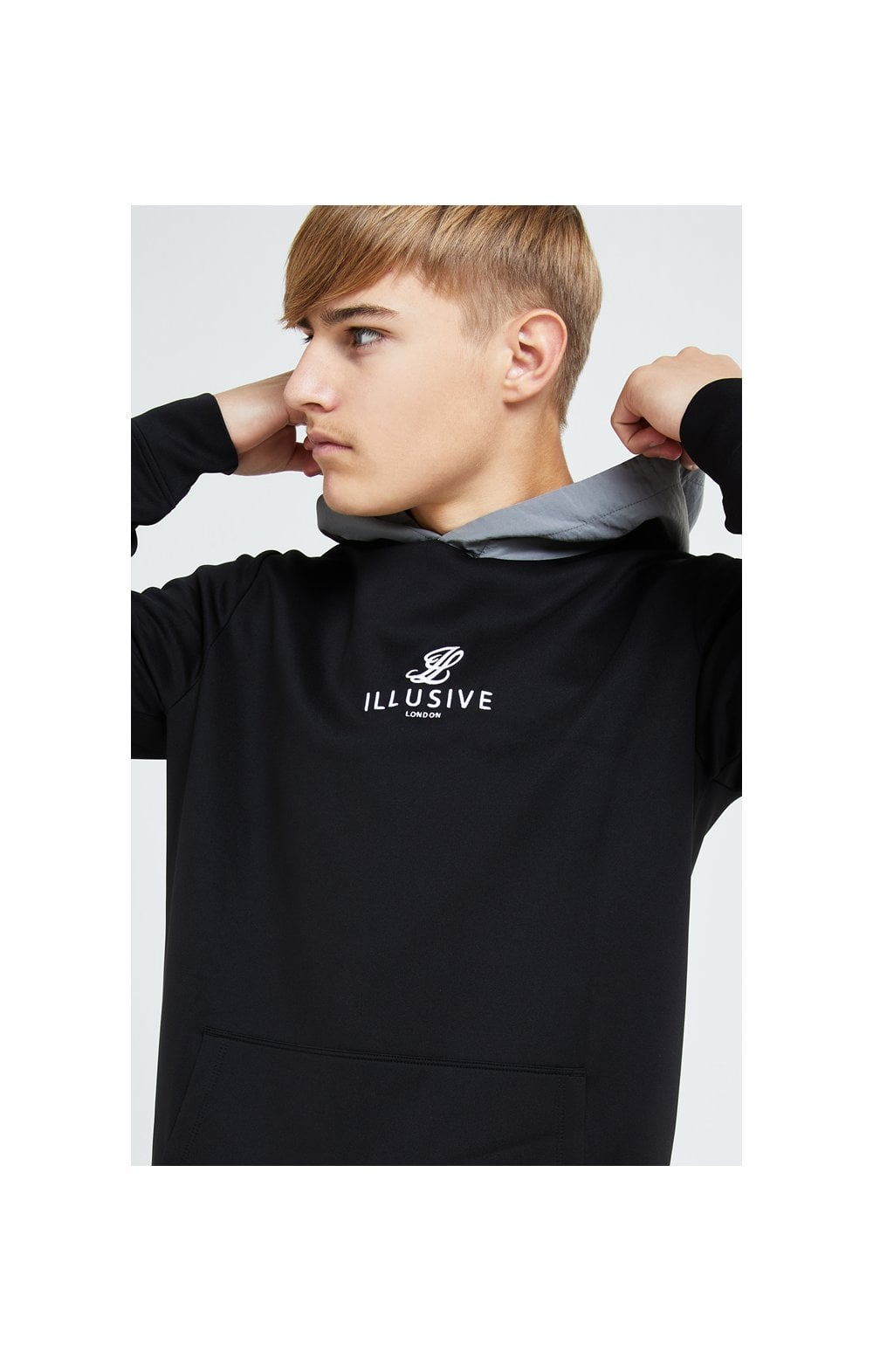 Illusive London Hybrid Overhead Hoodie - Black & Grey