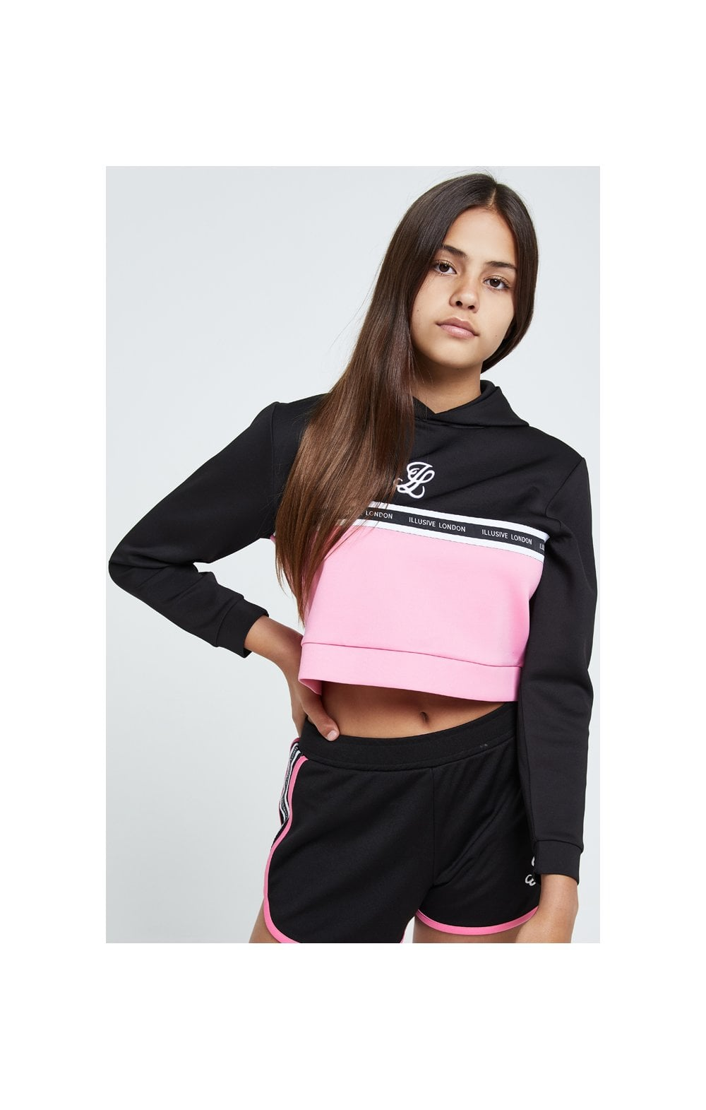 Illusive London Colour Block Cropped Hoodie - Black & Pink