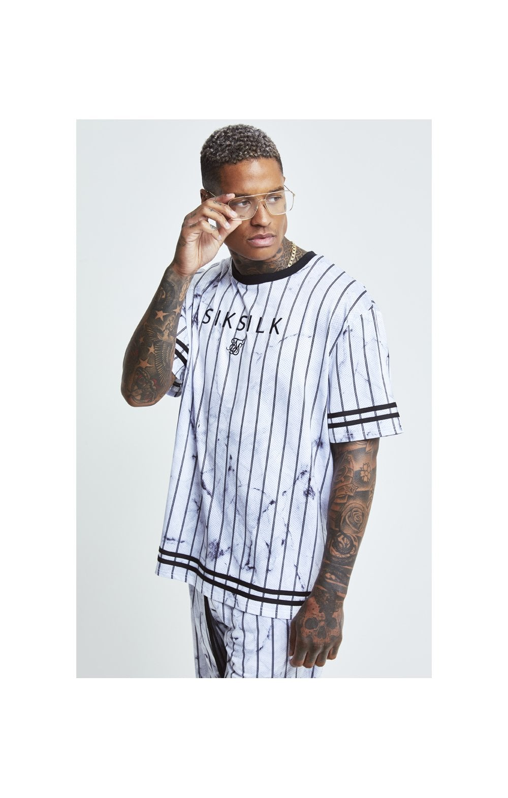 SikSilk S/S Marble Essential Tee - White & Grey